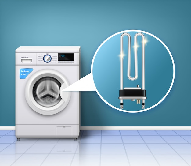 Washing machine scale protection composition with realistic laundry washer and serpentine tube heater with indoor environment Free Vector