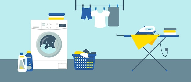 Washing machine with cleanser, iron on ironing board and clean clothes in laundry service room Premium Vector