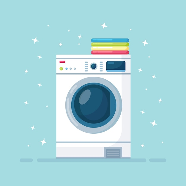 Washing machine  with stack of dry clothing. electronic laundry equipment for housekeeping Premium Vector