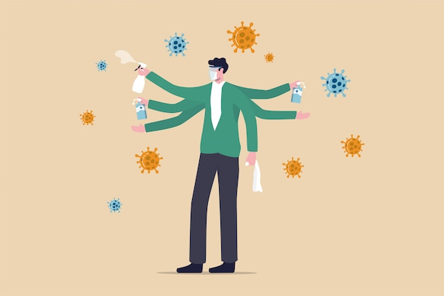 Washing, sanitise your hands and clean surface to protect coronavirus covid-19 infection concept, healthy man with multiple hands using alcohol gel to wash his hands and sanitiser to clean surface. Premium Vector