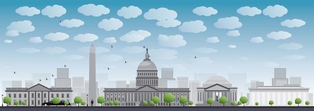 Washington dc city skyline silhouette Premium Vector