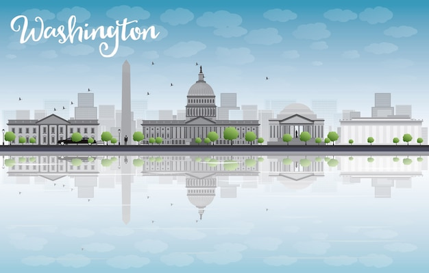 Washington dc city skyline with cloud and blue sky Premium Vector