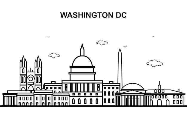 Washington dc city tour cityscape skyline line outline Premium Vector