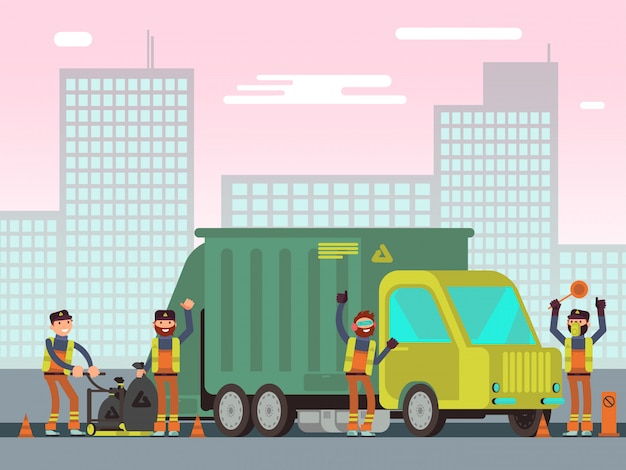 Waste management and city garbage collection for recycling vector concept with sanitation workers Premium Vector