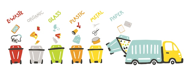 Waste management concept for kids. ecology theme. learning for toddlers. separation of waste on colored garbage cans and garbage truck. colorful illustration in childish hand-drawn cartoon style Premium Vector