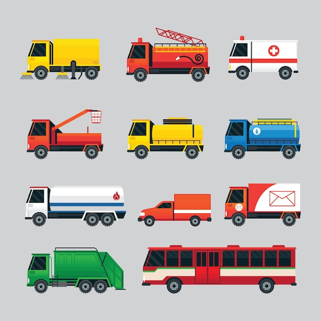 Waste, oil, water supply, electricity, emergency, truck and bus Premium Vector