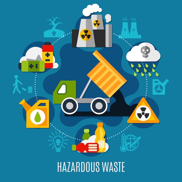 Waste and pollution illustration Free Vector