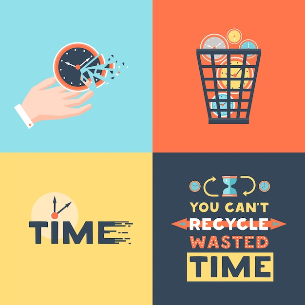 Wasted time 4 flat icons square Vettore gratuito