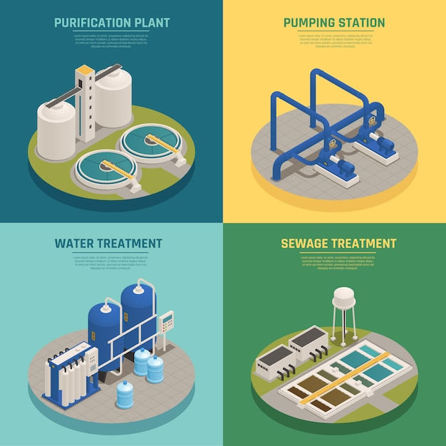 Wastewater purification isometric composition square Free Vector