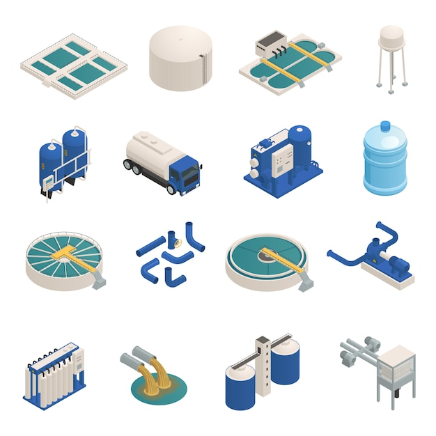 Wastewater purification isometric elements set Free Vector