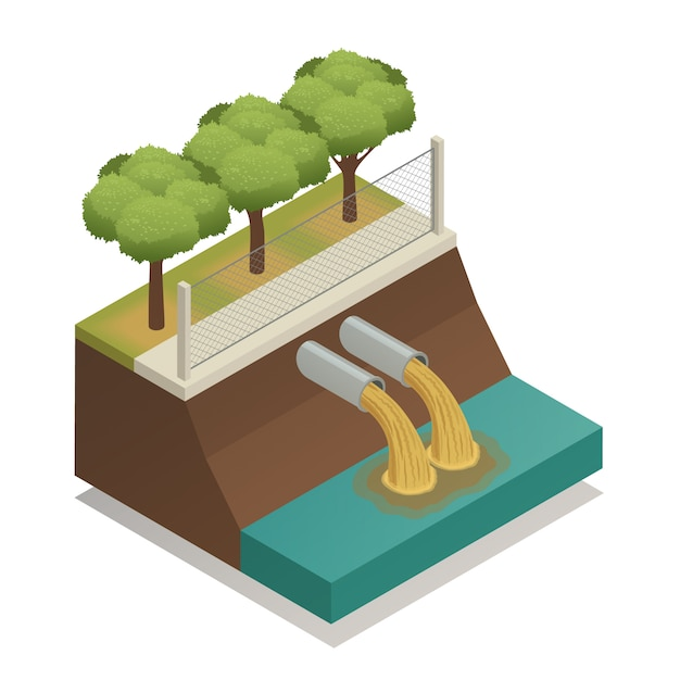 Wastewater treatment ecological isometric composition Free Vector