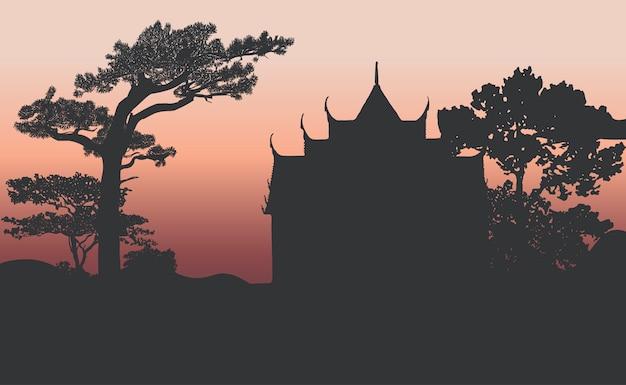 Wat benjamabhopit silhouette vector design Free Vector