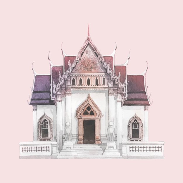 Wat benjamabhopit temple painted by watercolor Free Vector