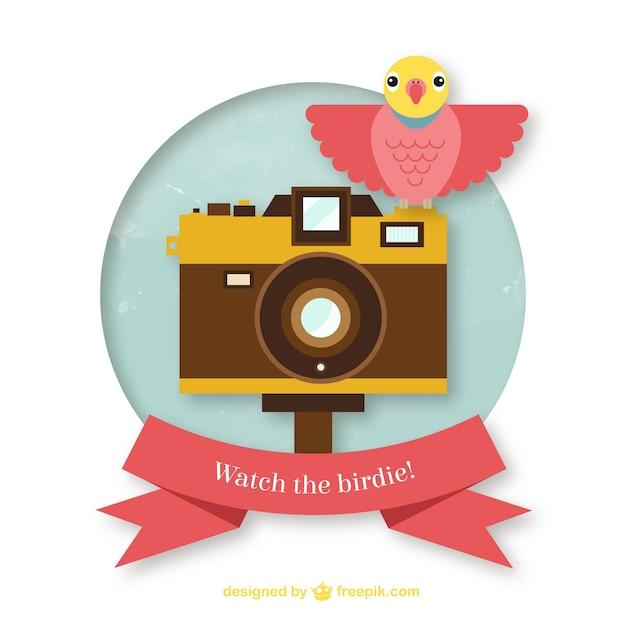 Watch the birdie! Free Vector