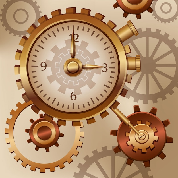 Watch and cogs steampunk Premium Vector