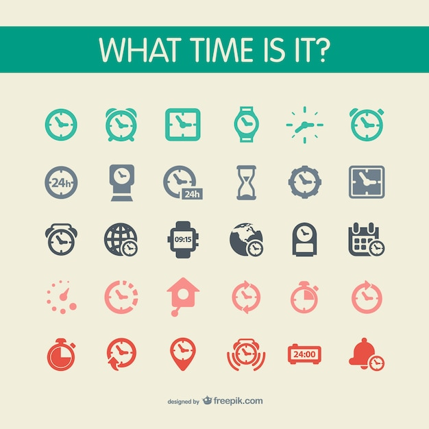 Watch icons set Free Vector