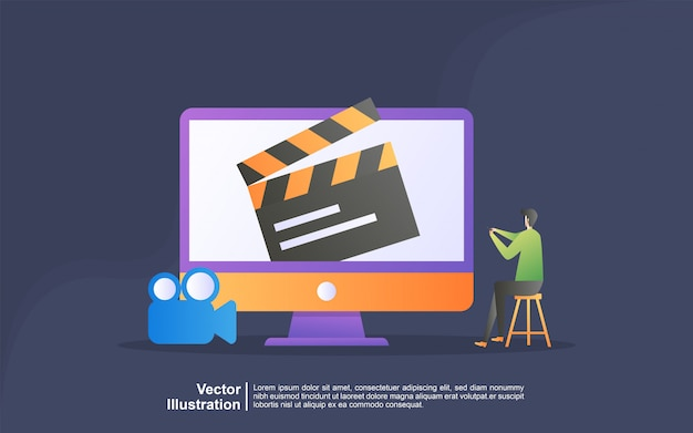 Watch Movie Illustration Concept Streaming Video And Movies Home Cinema Entertainment Webs Banner Digital Media Internet Television Can Use For Landing Page Template Ui Web Mobile App Banner Premium Vector