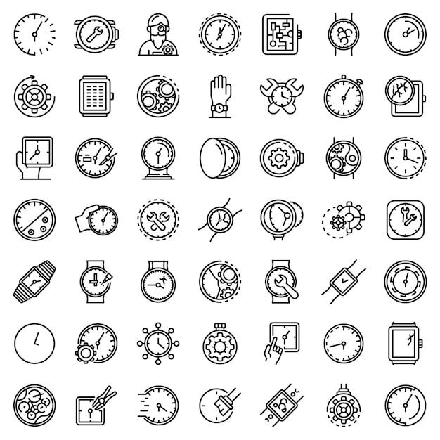 Набор иконок ремонта часов, стиль контура Premium векторы