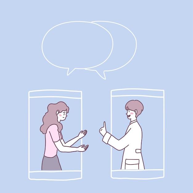 스마트 폰에서 영상 통화를 보거나 의사의 영상 통화를 할 수 있습니다. 무료 벡터