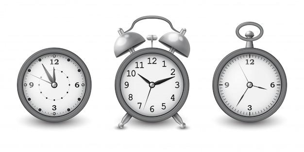 Часы и будильник коллекции в серебре. иллюстрации. Premium векторы