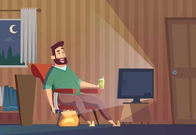Watching tv. fat lazy unhealthy man sitting on sofa relaxing sedentary lifestyle person watch soccer vector background. lazy man watch television expression illustration Premium Vector