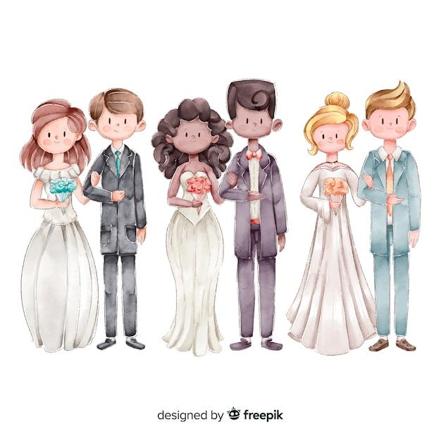 Watecolor коллекция свадебных пар Бесплатные векторы