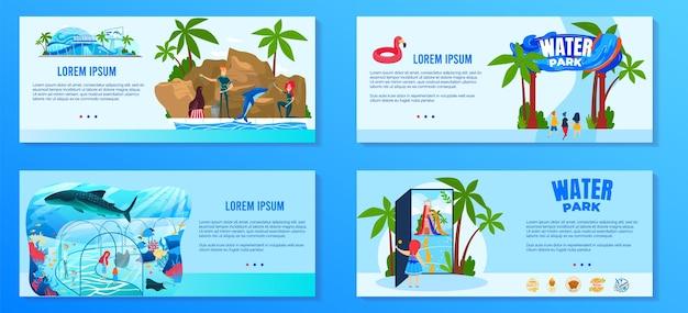 Набор векторных иллюстраций водного парка развлечений, мультяшная плоская коллекция баннеров тематического парка развлечений с аква-аттракционами Premium векторы