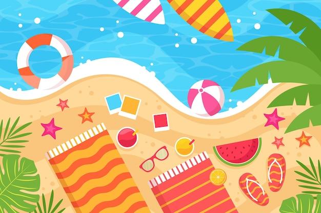 水とビーチアクセサリー夏背景 無料ベクター