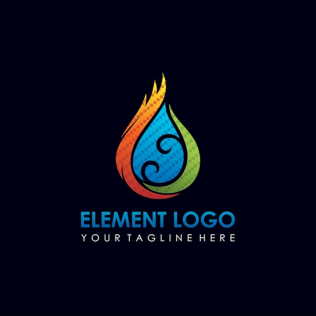 Water And Fire Element Logo Design Premium Vector