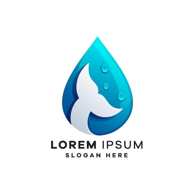 Шаблоны дизайна логотипа воды и рыбы Premium векторы
