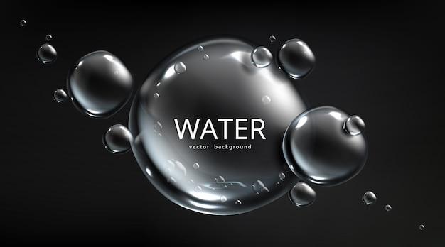 Водный фон, пузырьки воздуха на черном фоне с аква-сферами. сохраните ресурсы планеты и концепцию защиты экологии с помощью жидких ртутных шариков или капель, реалистичный 3d шаблон для рекламы Бесплатные векторы