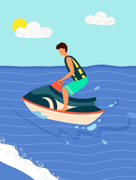 Water bike summer sport recreations.   beach Premium Vector