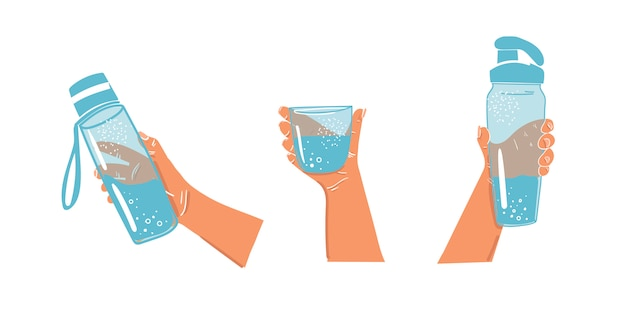 Water bottle in hand on an isolated background. daily water balance. water bottles for sports. glass of water in hand. drink during sports. Premium Vector