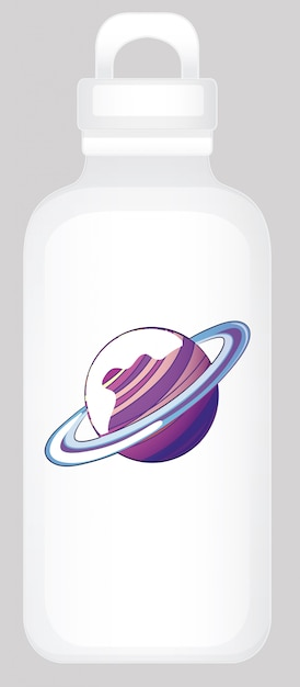 Water bottle with planet Free Vector