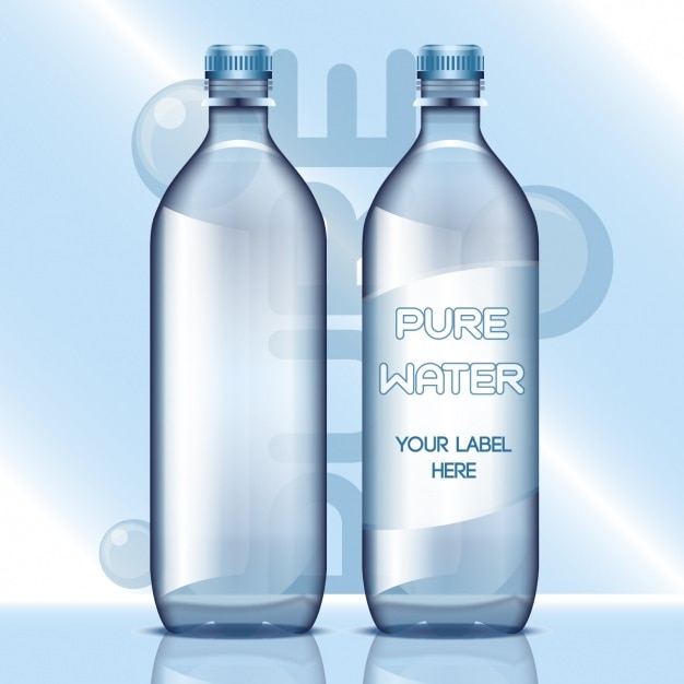 Water bottles with blank labels Free Vector