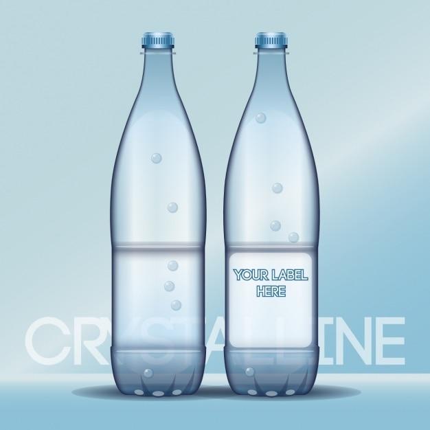 Water Bottle Vector: Water Bottles With Empty Labels Vector