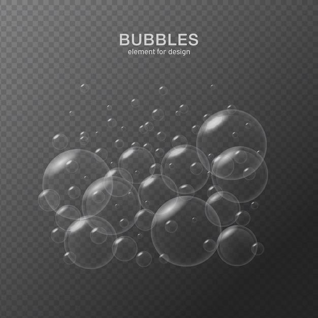 Водяные пузыри на прозрачном фоне. Premium векторы