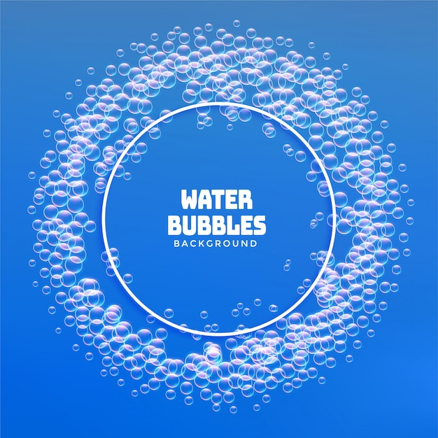 Water bubbles or soap foam frame background Free Vector
