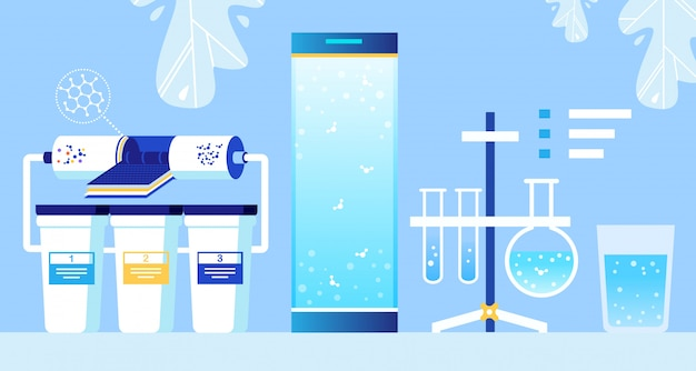 Water cleaning nanofiltration system and flasks Premium Vector