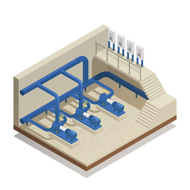 Water cleaning system isometric composition Free Vector