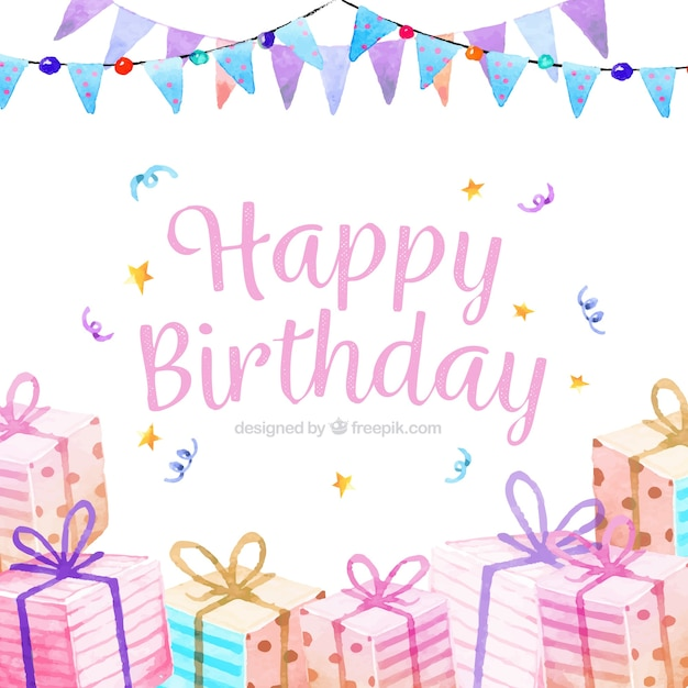 Water Color Birthday Party Background Vector