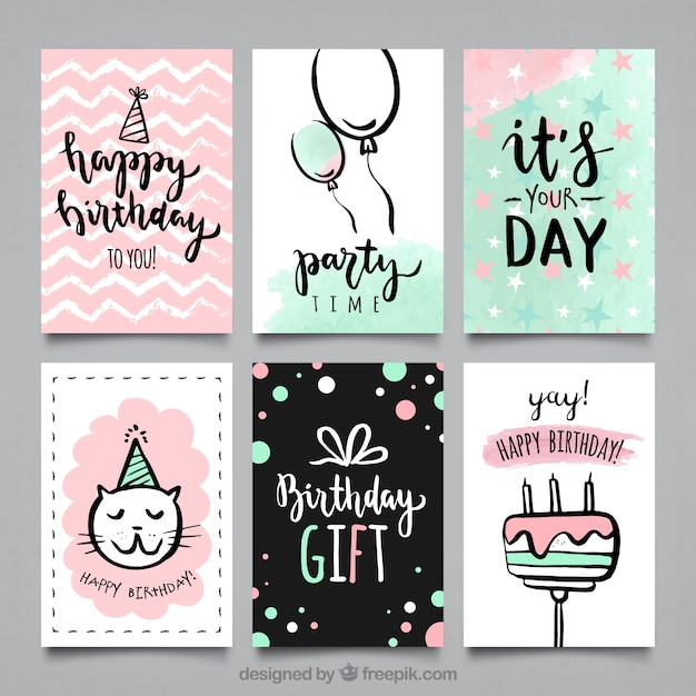 Water color bithday party cards collection Free Vector