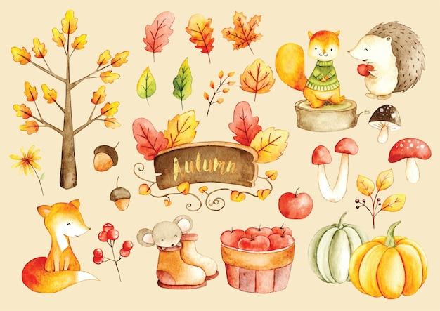 Акварельный рисунок осеннего сезона Premium векторы