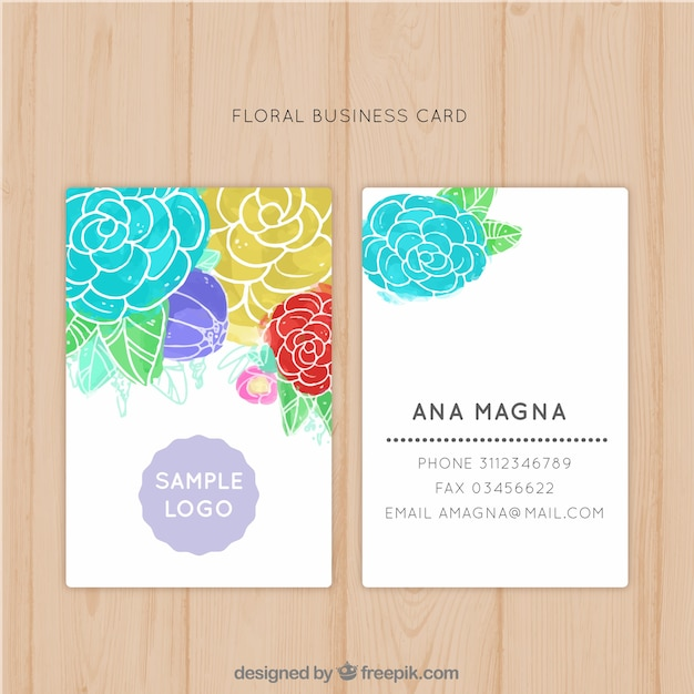 Water color flowered business card Free Vector