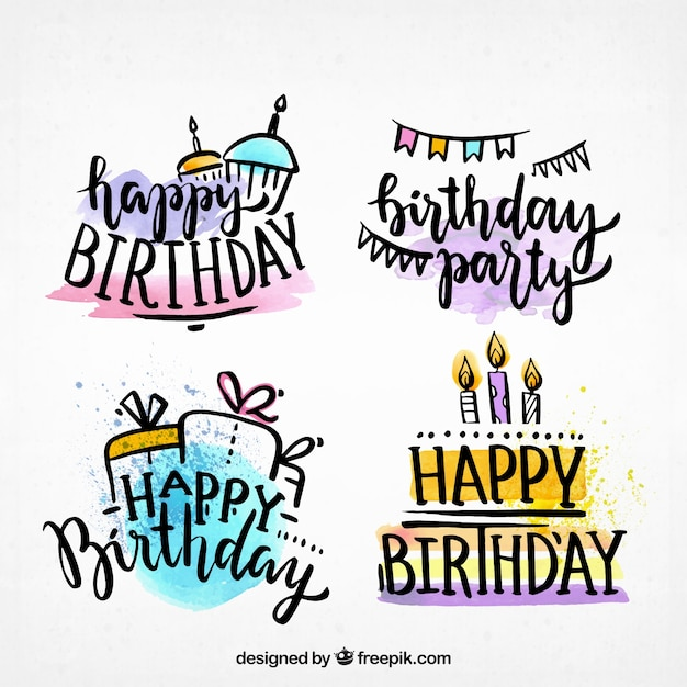 Water Color Happy Birthday Labels Collection Free Vector