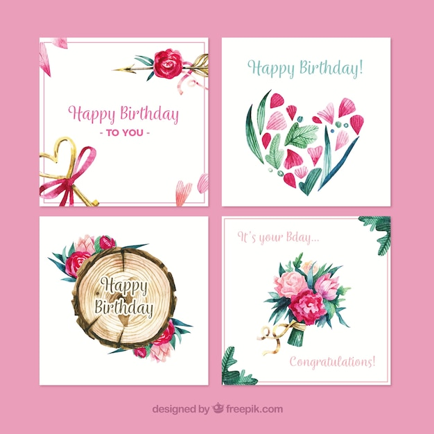 Water color nature birthday cards collection Vector – Nature Birthday Card