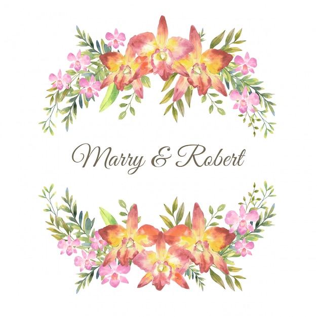 물 색깔 분홍색 난초와 상단과 하단, 원형 형식, 그림에 잎 식물 스타일 부케와 카 틀 레 야 난초. 프리미엄 벡터