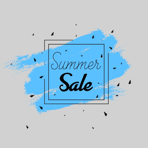 Water color summer sales banner in blue and dark grey Free Vector
