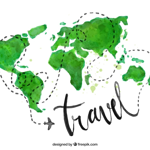 World map vectors photos and psd files free download water color travel background gumiabroncs Image collections