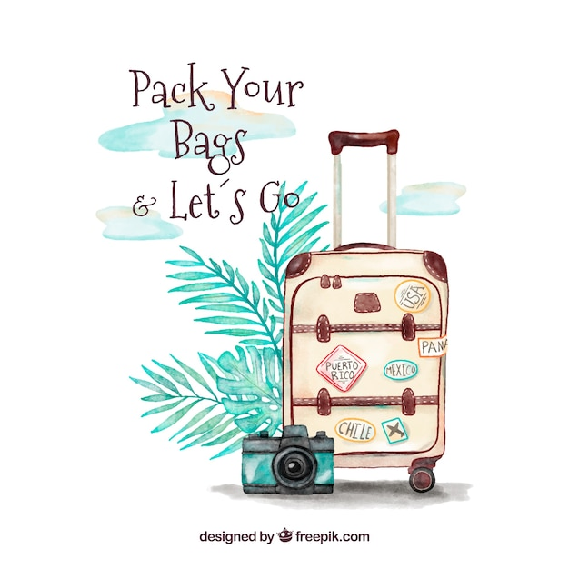 Water color travel bag background Free Vector